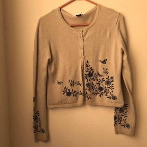 Sweaters - Grey Cardigan with Floral Design